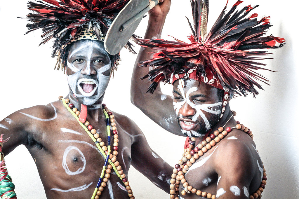 portrait of african dancers photographed in film studio in Paris