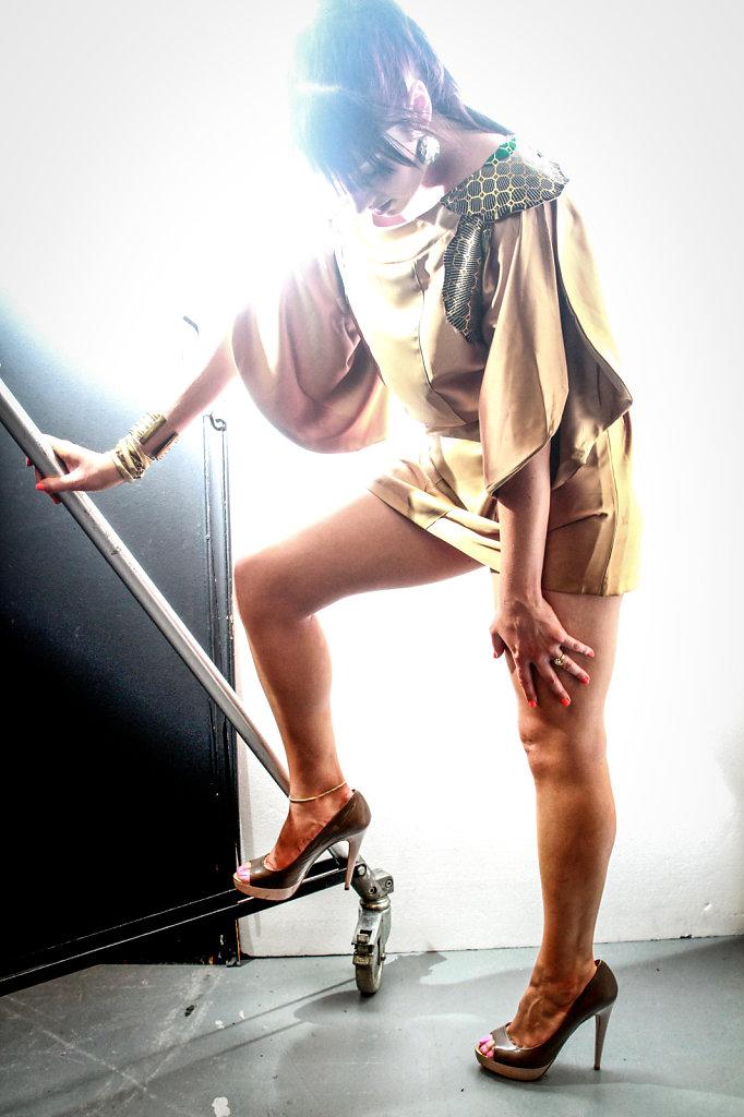 Portrait of singer Zara Universe photographed in studio light in Paris