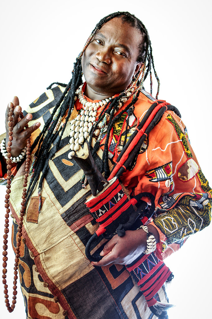 Portrait of Wes Mediko, african singer in studio in Paris