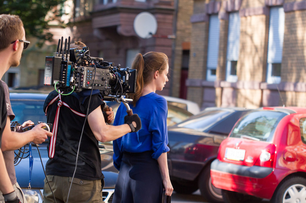 """Stella Denis during the shooting the short film """"wer ist zoe"""""""