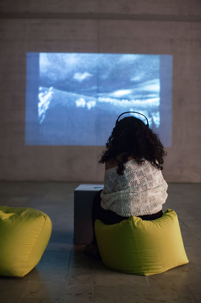 audience looking and video art